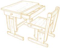 パソコン対応型。引き出して使える天板付の机です。