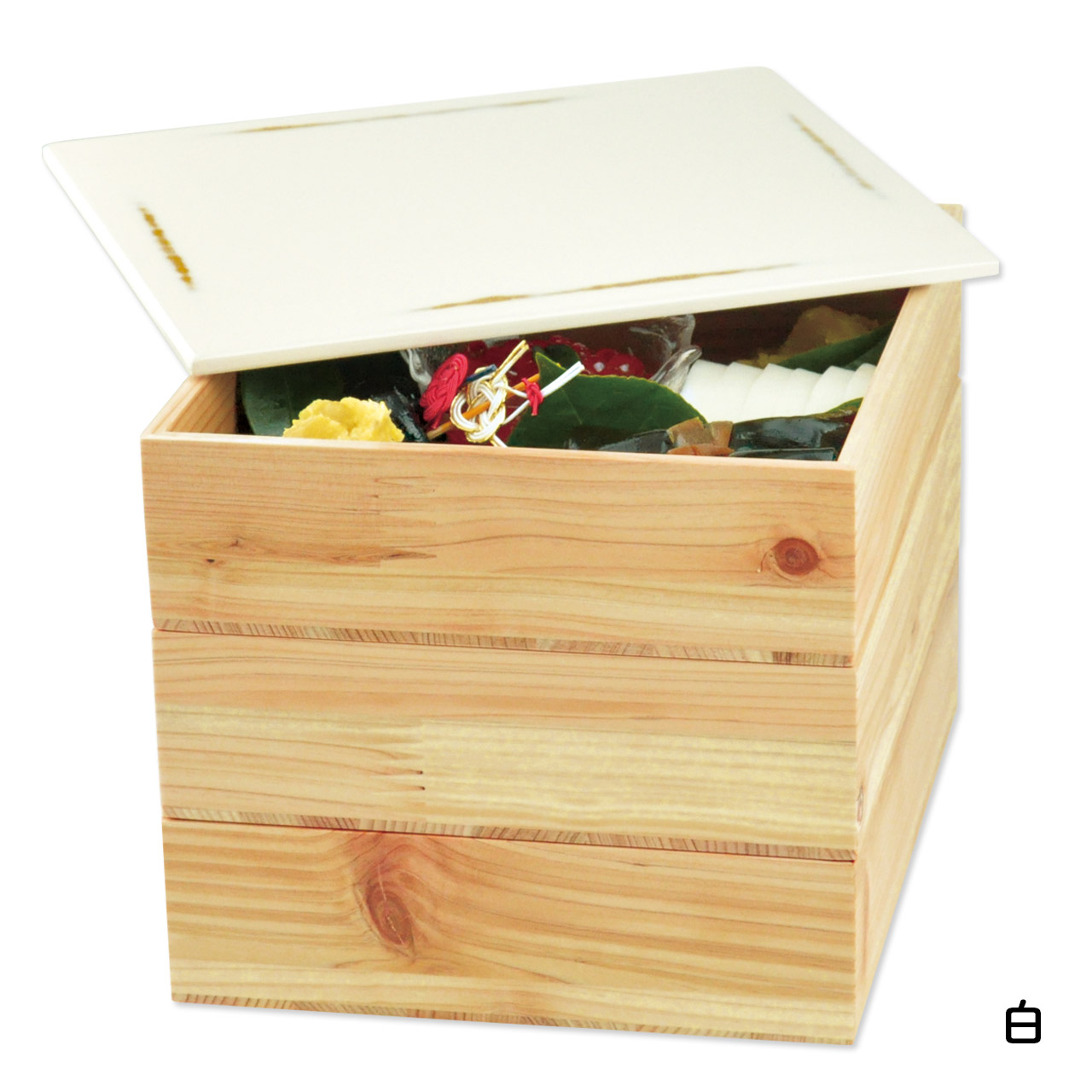 間伐材 三段重箱 変根来