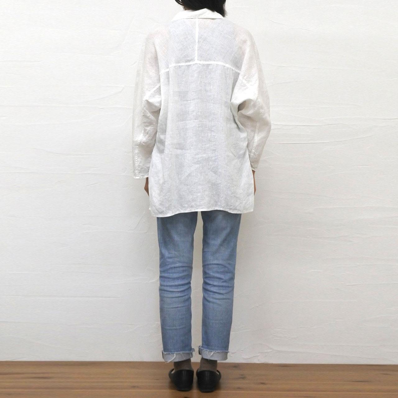 シアーリネン スキッパーシャツ ホワイト
