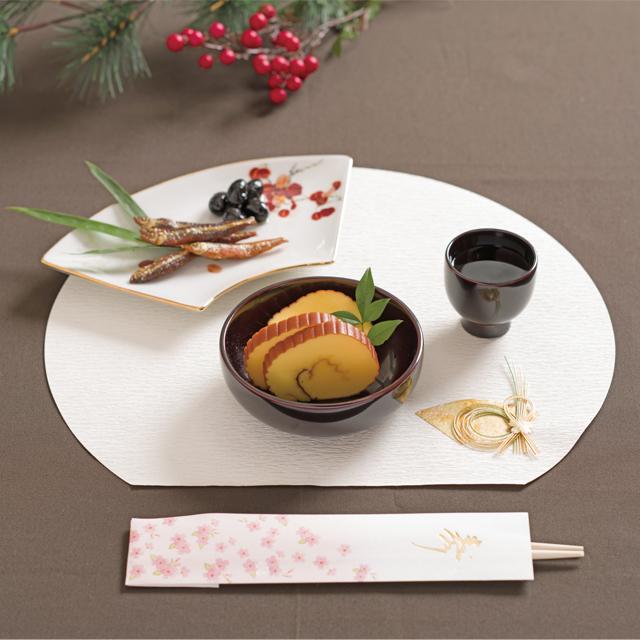 川連漆器 ぐいのみ 丸小鉢(本溜) ランチョンマット半月金千代扇 祝箸 舞花